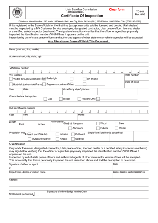 Fillable Form Tc-661 - Certificate Of Inspection Form ...