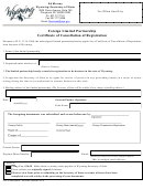 Form For Foreign Limited Partnership Certificate Of Cancellation Of Registration