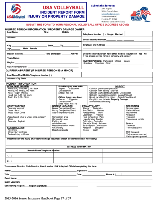 fillable usa volleyball incident report form printable pdf