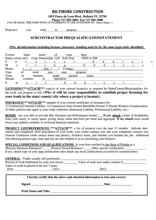 subcontractor prequalification statement form printable