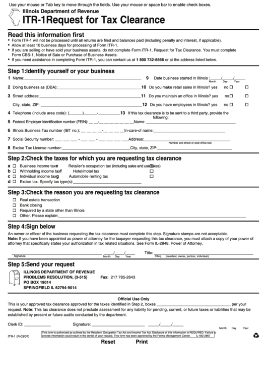 Fillable Form Itr-1 - Request For Tax Clearance - Illinois
