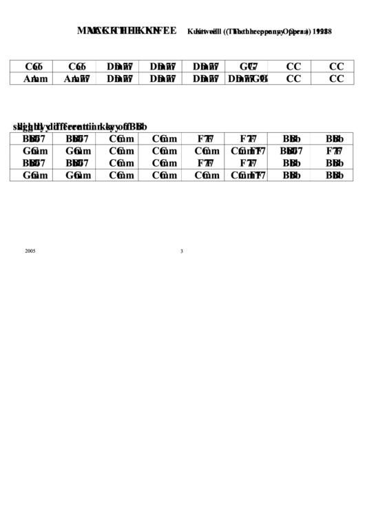 Mack The Knife Chord Chart Printable Pdf Download