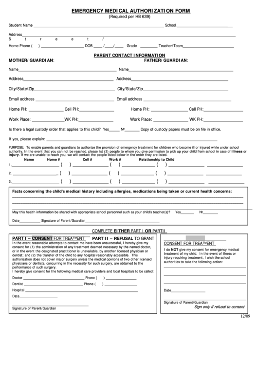Emergency Medical Authorization Form Printable pdf