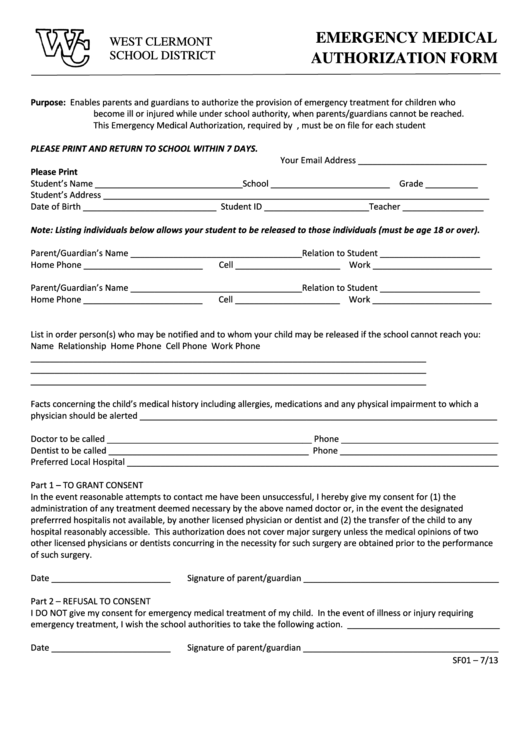 Fillable Emergency Medical Authorization Form - West Clermont School District Printable pdf