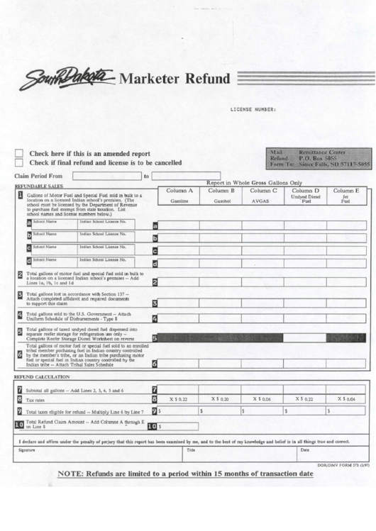 Marketer Refund Form - State Of South Dakota Printable pdf