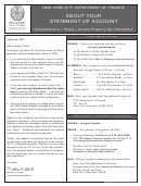 Instruction For Statement Form Of Account - State Of New York