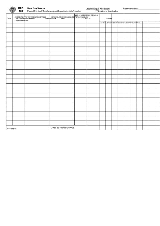 Form Ber108 - Beer Tax Return Schedule Template