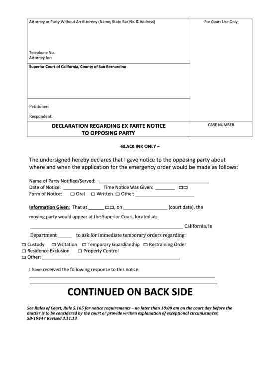 declaration form regarding ex parte notice to opposing