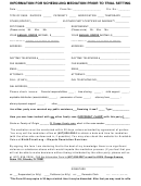 Form 50 - Information For Scheduling Mediation Prior To Trial Setting