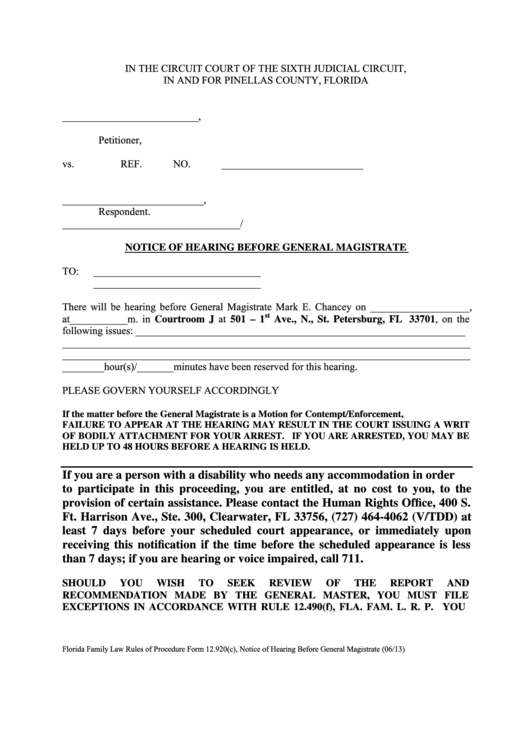 Notice Of Hearing Before General Magistrate Form - Pinellas County, Florida