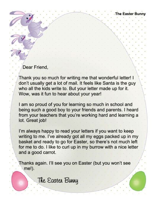 Easter Bunny Letter To Child Template Printable pdf
