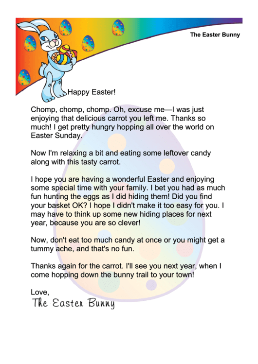 Thanks For The Carrot Easter Bunny Letter Template