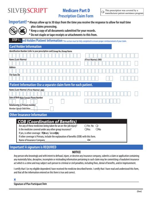 Fillable Medicare Part D Prescription Claim Form Printable pdf