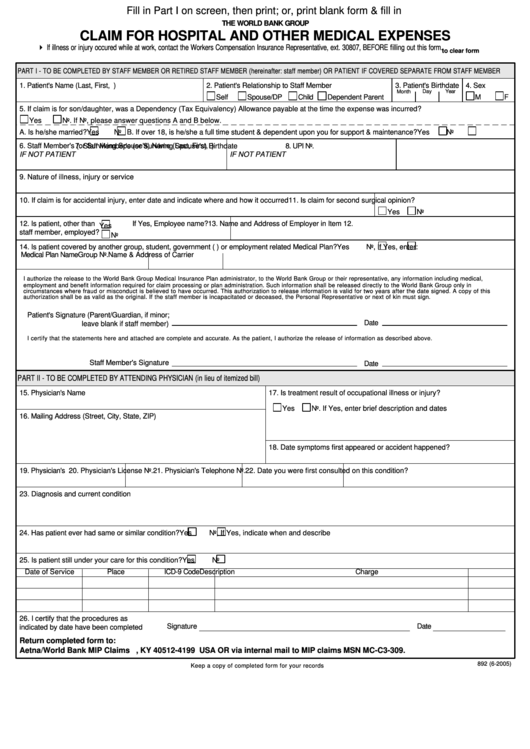 Fillable Form 892 - Claim For Hospital And Other Medical Expenses Template Printable pdf
