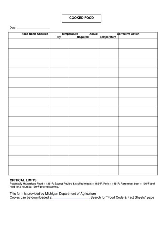 Cooked Food Temperature Log Printable pdf