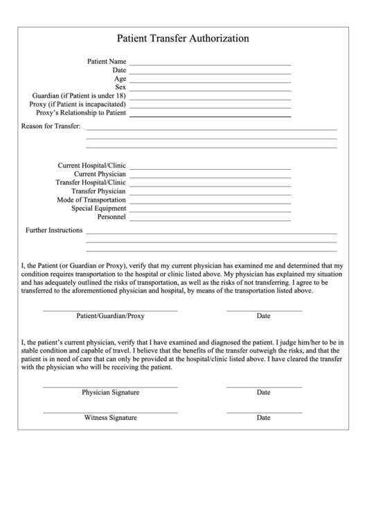 Patient Transfer Authorization Form Printable pdf