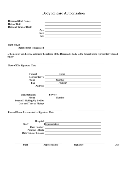 Body Release Authorization Form Printable pdf