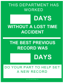 Safety Sign Template - Department Worked