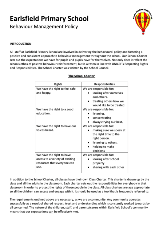Earlsfield Primary School Behaviour Management Policy
