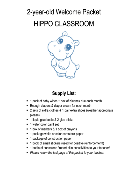 2-year-old Welcome Packet - Hippo Classroom Supply List Template