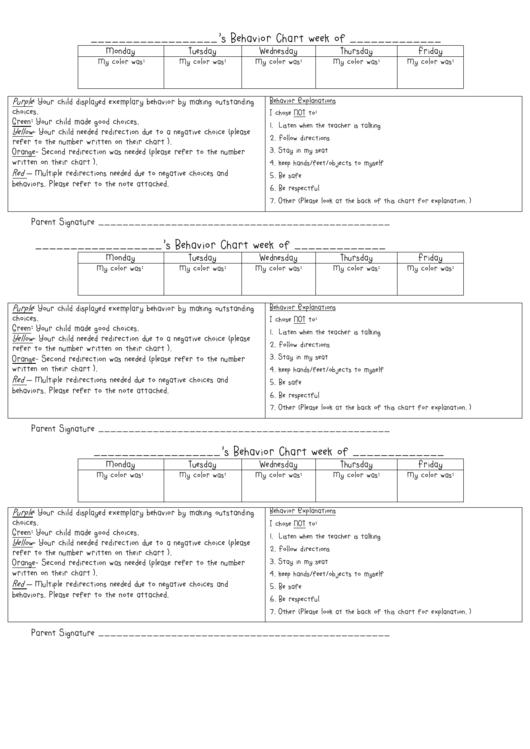 Behavior Chart Week Printable pdf
