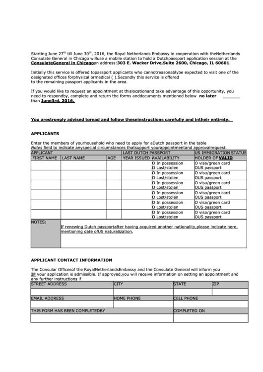 fillable dutch passport application printable pdf download