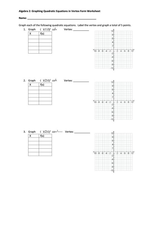 Algebra 2 Graphing Quadratic Equations In Vertex Form Worksheet