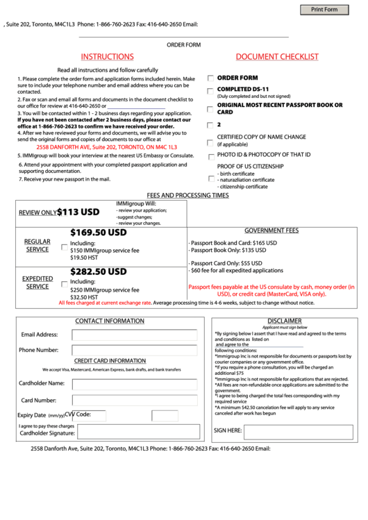 Fillable U.s. Passport Renewal From Canada By Appointment Order Form, Form Ds11 - Application For A Us Passport From Canada Printable pdf