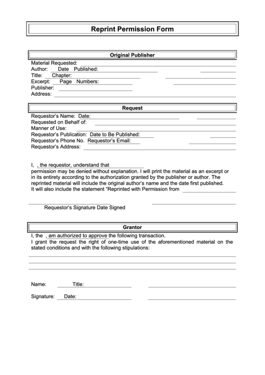 Reprint Permission Form Printable pdf
