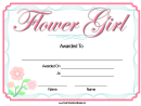 Flower Girl Certificate Template