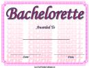 Bachelorette Certificate Template