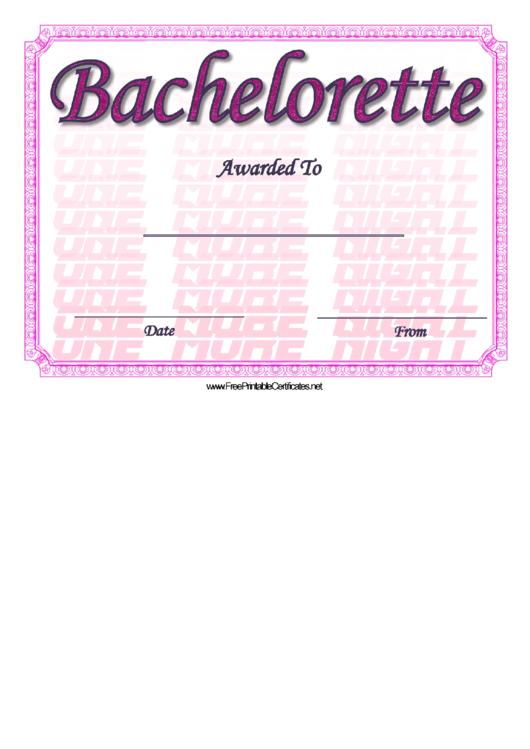 Bachelorette Certificate Template Printable pdf