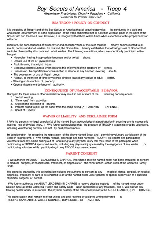 Boy Scouts Of America Troop 4 Multipurpose Waiver Form printable pdf ...