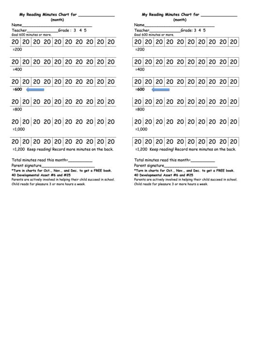 My Reading Minutes Chart Printable pdf