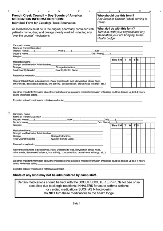 Individual Medication Form - Custaloga Town Scout Reservation ...