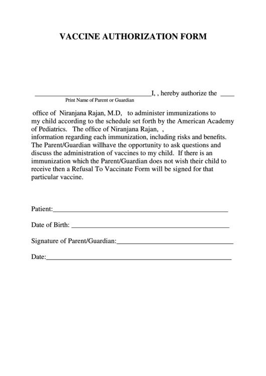 Fillable Vaccine Authorization Form Printable pdf