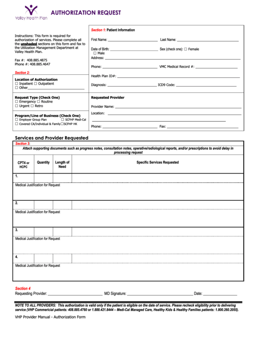 Authorization Request Form Printable pdf