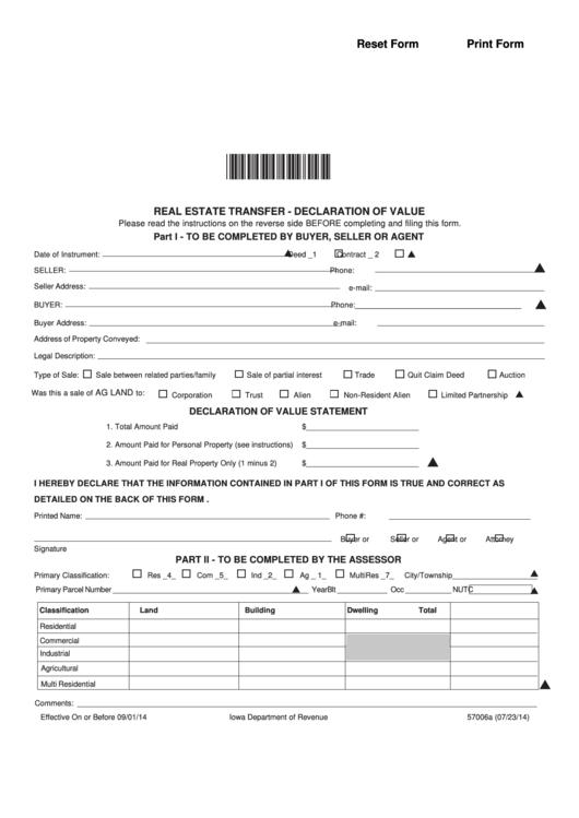 Form 57006a - Real Estate Transfer - Declaration Of Value