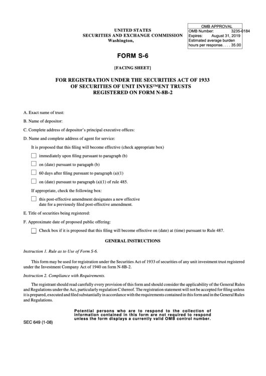 Form S-6 - Form For Registration Under The Securities Act Of 1933