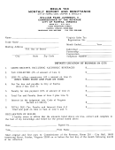 Meals Tax Monthly Report And Remittance Form - City Of Fairfax, Virginia