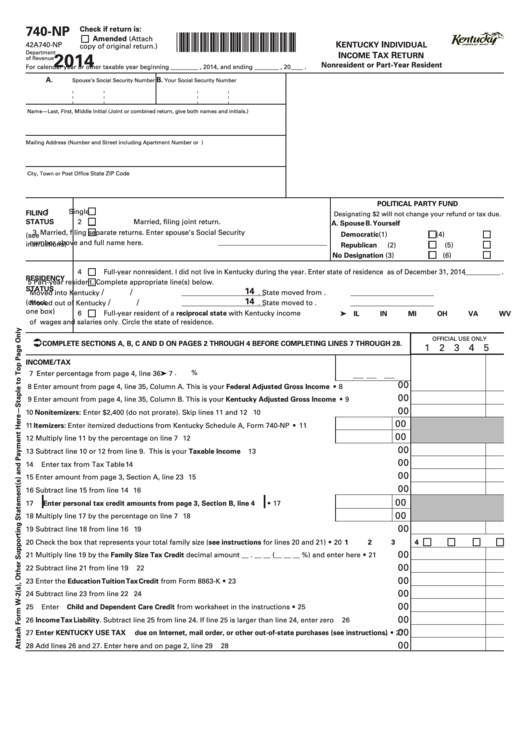 Fillable Form 740-Np - Kentucky Individual Income Tax Return Nonresident Or Part-Year Resident - 2014 Printable pdf