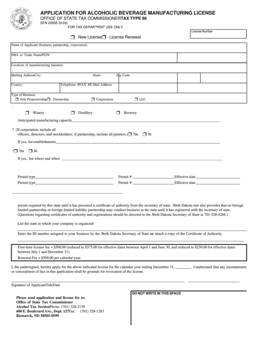 Fillable Form Sfn 22935 - Application For Alcoholic ...