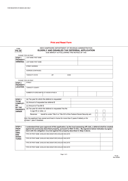 Form Pa-30-elderly And Disabled Tax Deferral Application