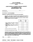 Lease Or Rental Of Tangible Personal Property Form - City Of Alashrt, Alabama