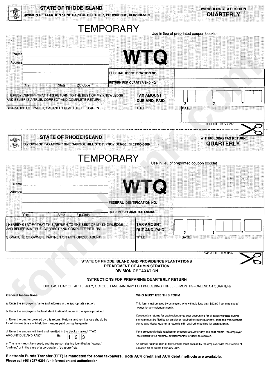 Form 941-Qri - Withholding Tax Return - Quarterly - State Of Rhode Island - Division Of Taxation