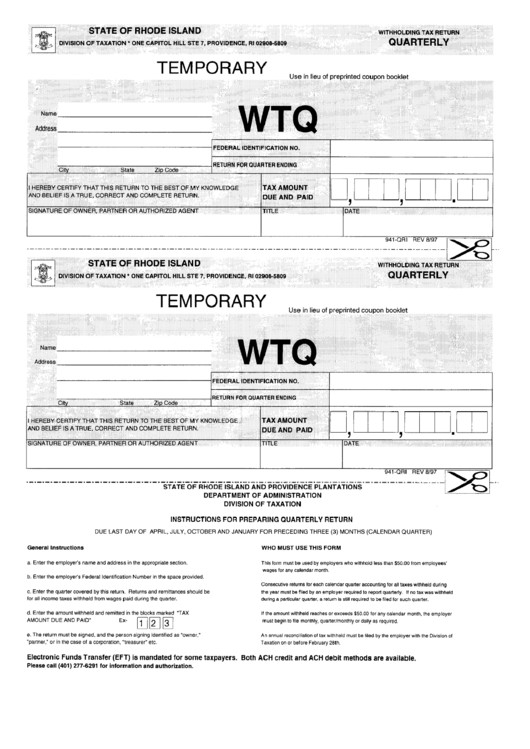 Form 941-Qri - Withholding Tax Return - Quarterly - State Of Rhode Island - Division Of Taxation Printable pdf