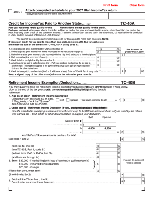 Fillable Form Tc-40a - Credit For Income Tax Paid To Another