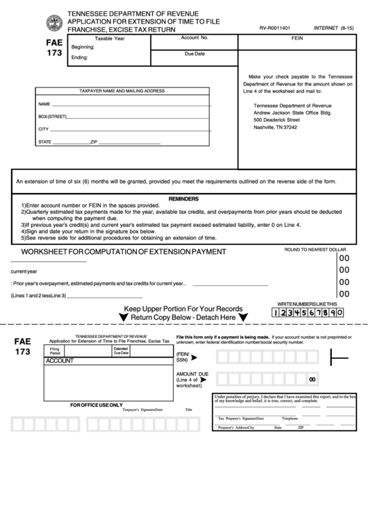 Form Fae 173 - Application For Extension Of Time To File Franchise, Excise Tax Return - 2015 Printable pdf