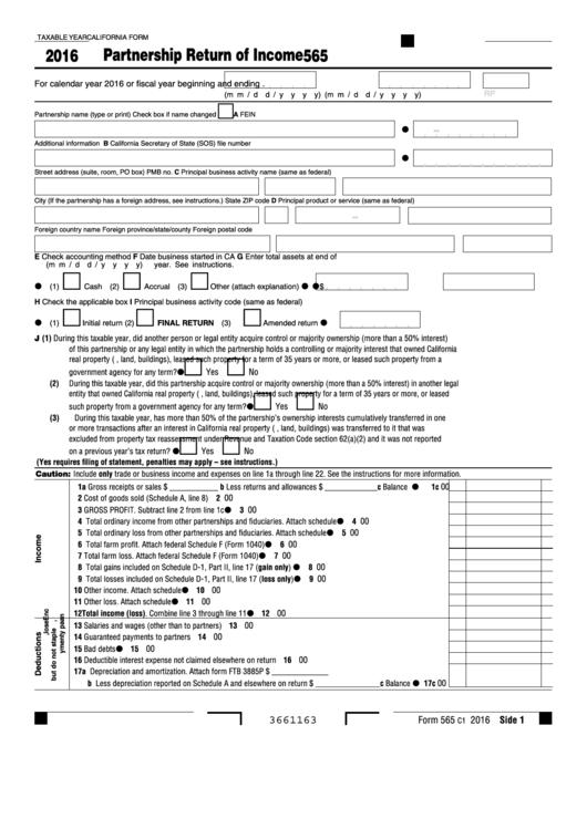 Fillable Form 565 - Partnership Return Of Income - 2016 Printable pdf
