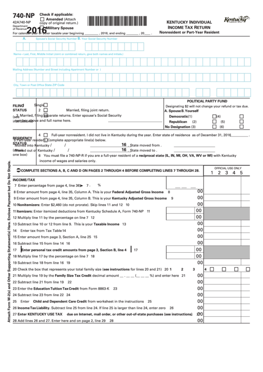 Fillable Form 740-Np - Kentucky Individual Income Tax Return Nonresident Or Part-Year Resident - 2016 Printable pdf